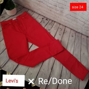Re/Done High Rise Red Distressed Levi's size 24